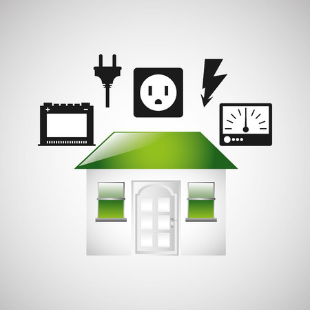 photovoltaic panel: house with electricity power icon, vector illustration