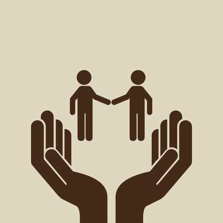 two men: two men shaking hand, networking and teamwork cooperation icon, vector illustration