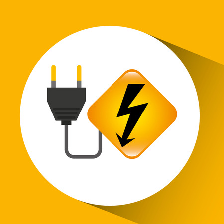 solar power station: energy icon with electricity power icons, vector illustration