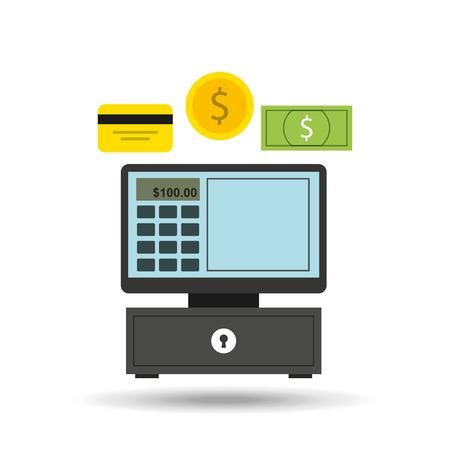 credit cart: shopping and cash register icon, vector illustration Illustration