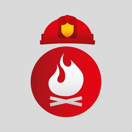 firefighter job man standing icon, vector illustration
