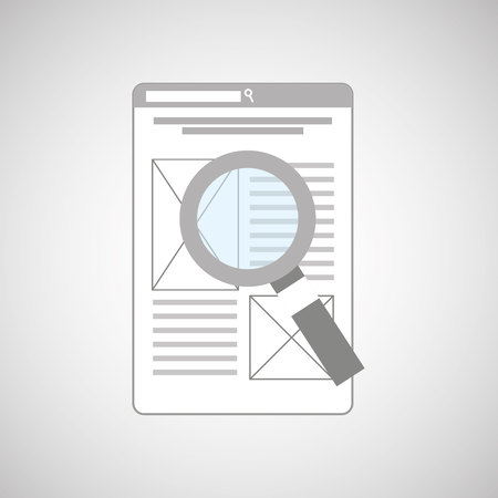 glass paper: magnifying glass paper data analysis information icon, vector illustration