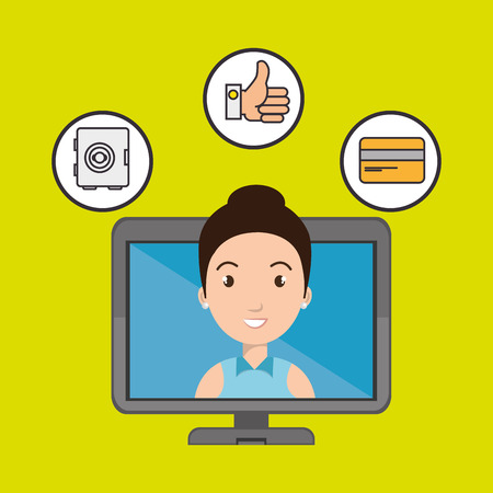 telecommunications equipment: woman with hand card and screen isolated icon design, vector illustration  graphic