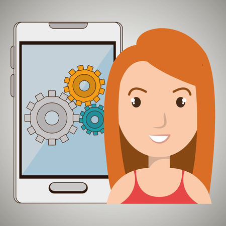 woman smartphone: woman smartphone gear isolated icon design, vector illustration  graphic