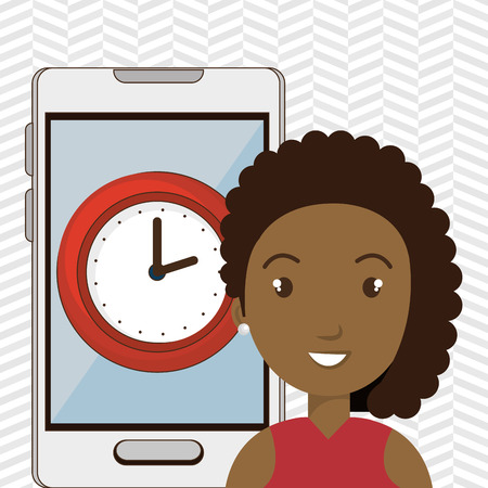 woman smartphone: woman smartphone and watch isolated icon design, vector illustration  graphic