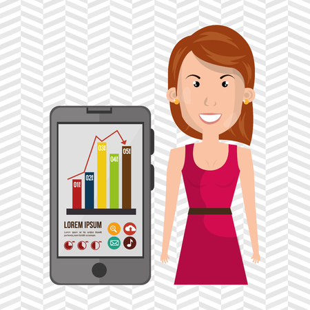 woman smartphone: woman smartphone and statistics isolated icon design, vector illustration  graphic Illustration
