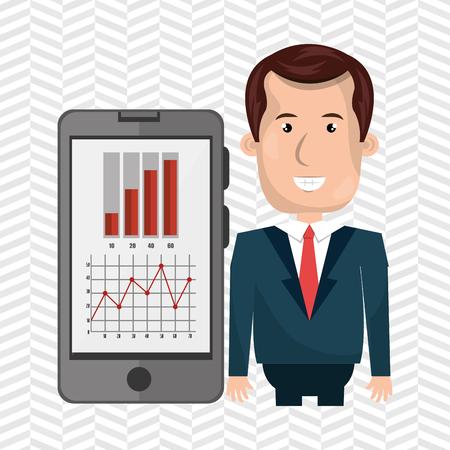 blazer: blazer man red tie smartphone isolated icon design, vector illustration  graphic