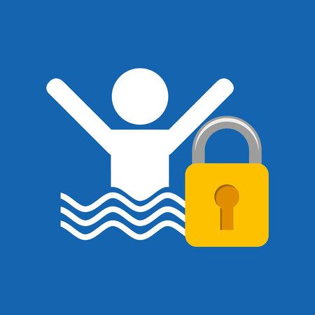 swim cap: security advice, man swimming icon, vector illustration