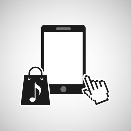mouse pointer: mouse pointer phone with shopping bag icon