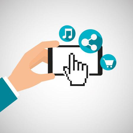 hand holding phone: hand holding phone music design icon, vector illustration