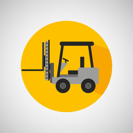 mech: forklift technolgy machine, industry icon, vector illustration