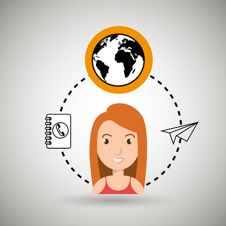 worl: woman and world and telephone isolated icon design, vector illustration  graphic Illustration