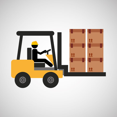 mech: man driving forklift machine, industry icon, vector illustration Illustration