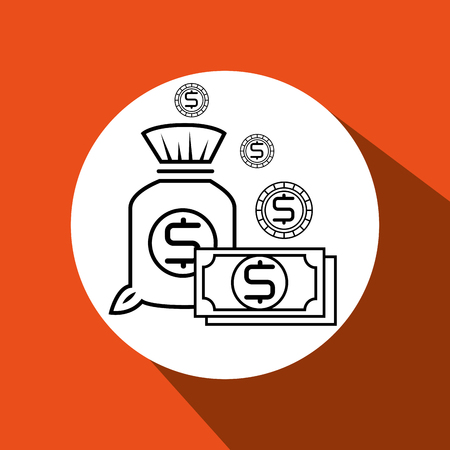 bag money orange background isolated icon design, vector illustration  graphic Illustration