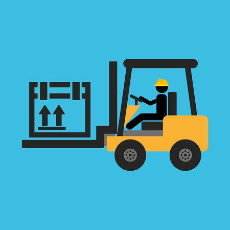 chapel: man driving forklift machine, industry icon, vector illustration Illustration