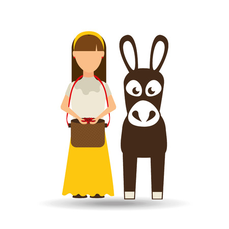 colombian: colombian farmer with donkey icon, vector illustration