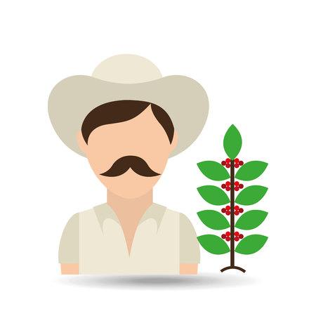 cafe colombiano: colombiana de caf� granjero icono de frijol, ilustraci�n vectorial