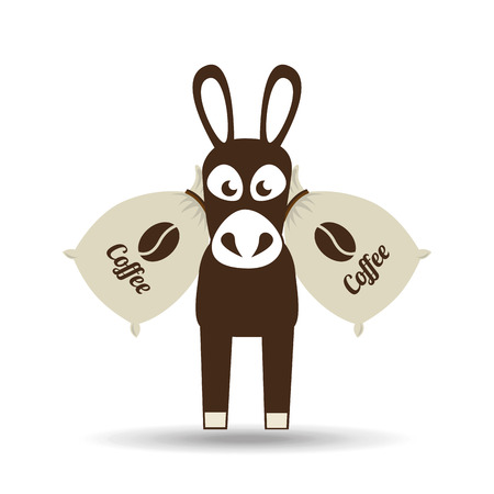 coffee sack: donkey and coffee bean icon, vector illustration
