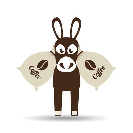 Esel und Kaffeebohne-Symbol, Vektor-Illustration
