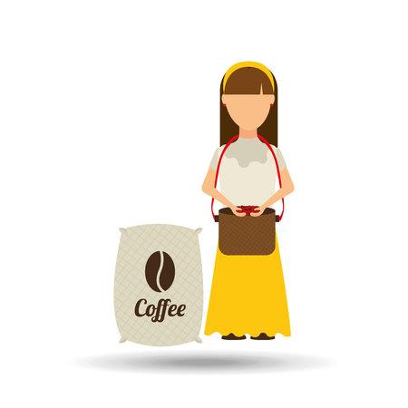 colombian: colombian farmer coffee bean icon, vector illustration Illustration