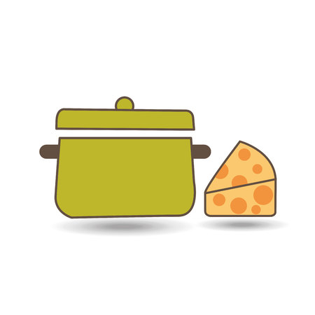 cheese with cooking pot icon, vector illustration