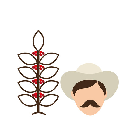kolumbianisch Landwirt Kaffeebohne-Symbol, Vektor-Illustration