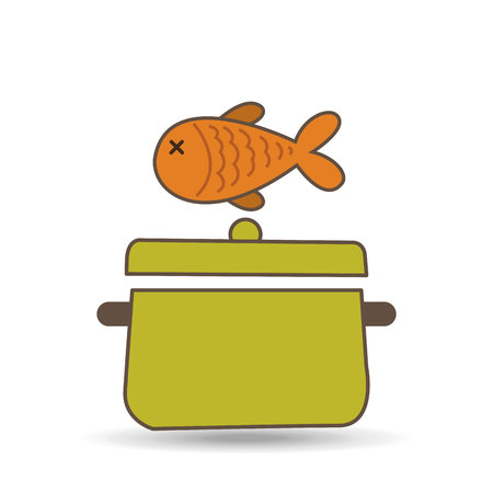 utensilios de cocina: pescado con el icono de olla de cocina, ilustración vectorial Vectores