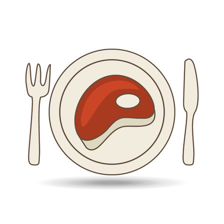 steak plate: steak on plate with fork and knife, vector illustration