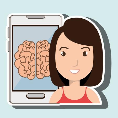 woman smartphone: woman smartphone idea isolated icon design, vector illustration  graphic Illustration