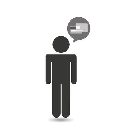 credit cart: man thinking in credit cart icon, vector illustration Illustration