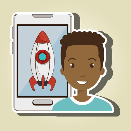 rocket man: man smartphone rocket isolated icon design, vector illustration  graphic