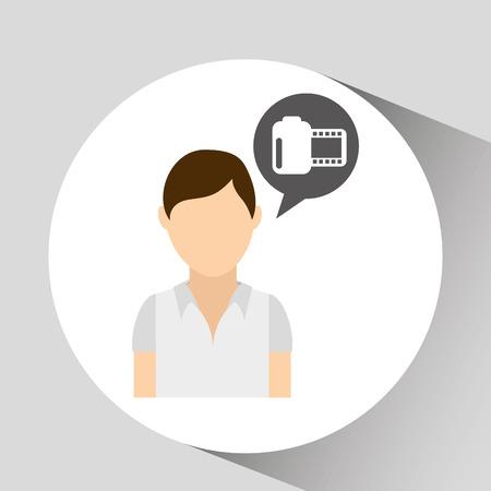 video camera icon: person with video camera icon, vecctor illustration Illustration