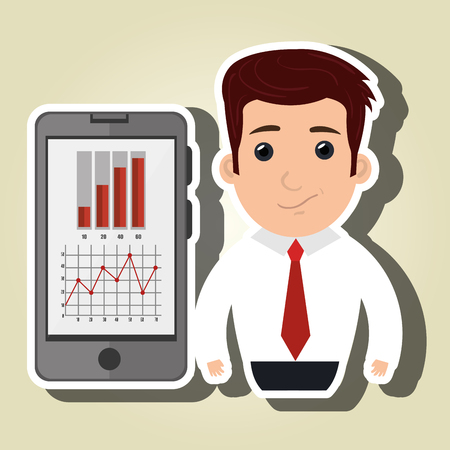 red tie: man red tie smartphone isolated icon design, vector illustration  graphic
