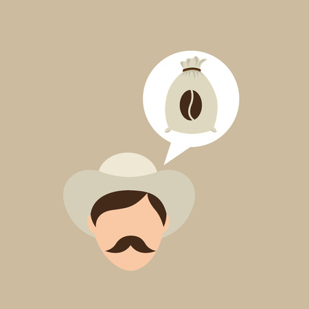 coffee sack: colombian farmer coffee bean icon, vector illustration Illustration