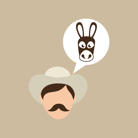 colombian: colombian farmer and donkey icon, vector illustration
