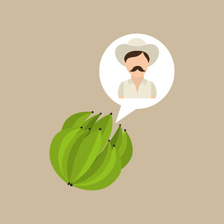 colombian farmer coffee bean icon, vector illustration Illustration