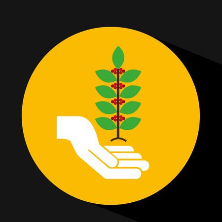 coffee sack: hand holding coffee bean icon, vector illustration Illustration