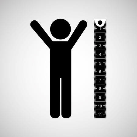 measuring height, healthy life style, vector illustration