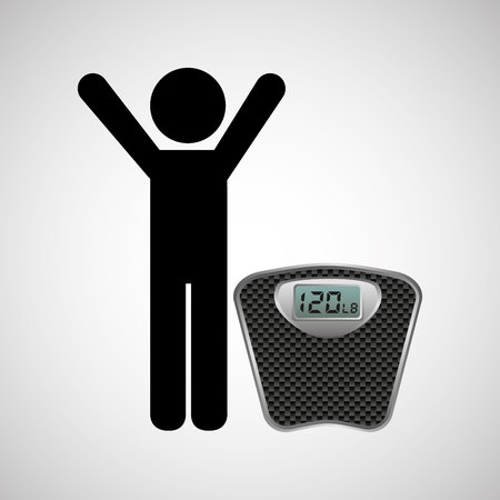 weighting: person Weighting, healthy life style, vector illustration Illustration