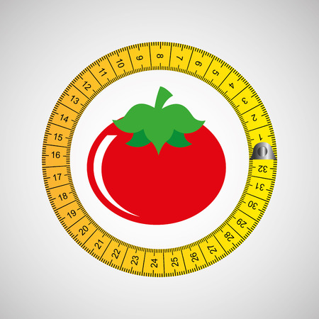 life style: tomato surrounded by tape measure, healthy life style, vector illustration Illustration