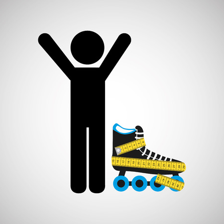 life style: roller skates, healthy life style, vector illustration