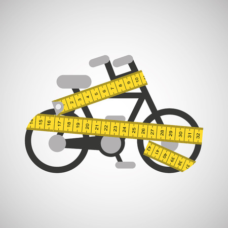 life style: bicycle surrounded by tape measure, healthy life style, vector illustration Illustration