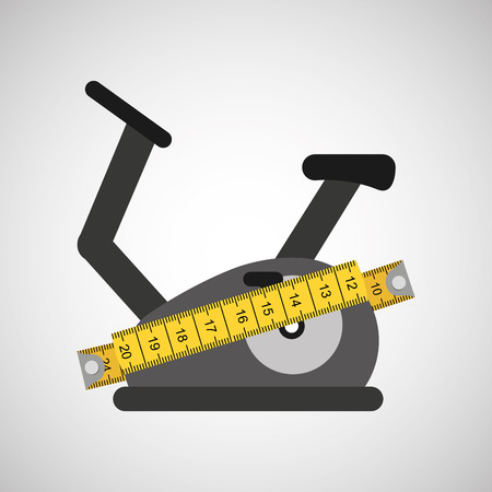 stationary bicycle surrounded bu tape measure, healthy life style, vector illustration Illustration