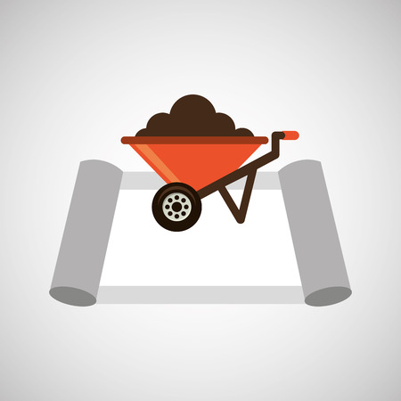 architectural team: Wheelbarrow construction and architecture icon, vector illustration