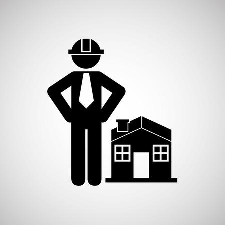 Tiefbau-Symbol mit Haus, Vektor-Illustration Standard-Bild - 59903096