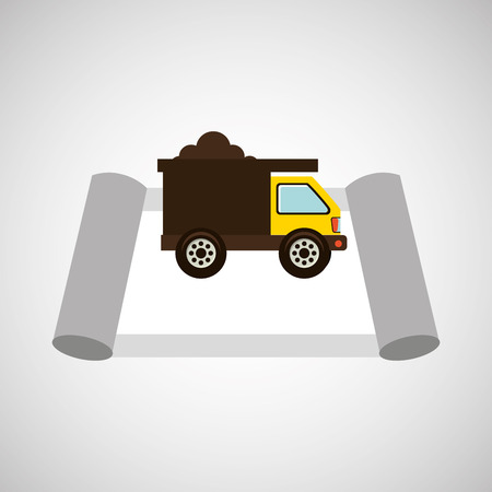 architectural team: construction car and architecture icon, vector illustration