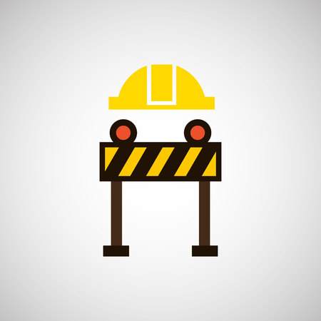 architectural team: construction helmet and construction sign, vector illustration Illustration