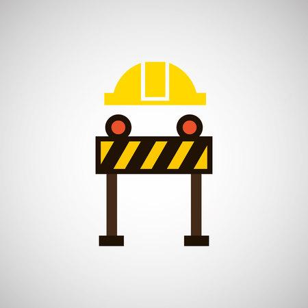 construction helmet: construction helmet and construction sign, vector illustration Illustration