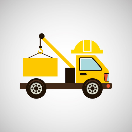 architectural team: construction car with a helmet, vector illustration