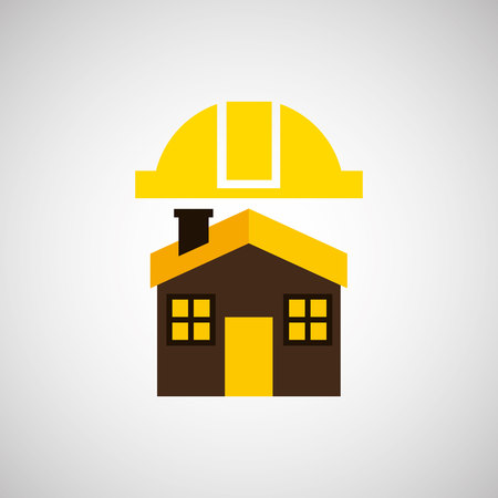 house construction: construction house with a helmet, vector illustration Illustration